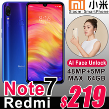 2019 Xiaomi Newest Flagship Redmi Note 7 Smartphone 48MP Camera 6.3inch Android OS 4G WiFi GPS USB-C