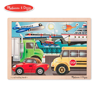 [Toys] Melissa & Doug On-the-Go Vehicles Wooden Jigsaw Puzzle With Storage Tray (12 pcs)