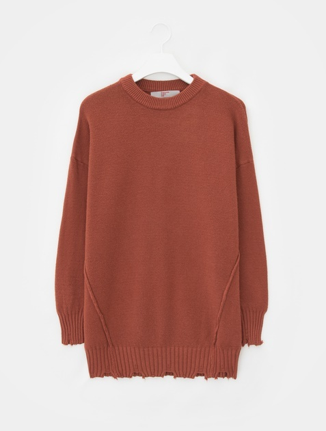 8SECONDS Destroyed Round Neck Knit - Brick