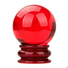 Red crystal ball开光红水晶球摆件精品水晶球招财旺事业家居风水工艺品摆设