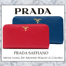 Prada Saffiano Metal Long Zip Around Wallet (Available in 2 Colours: Blue / Red)