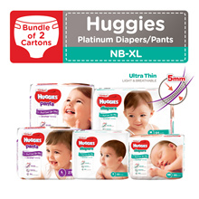 2 Cartons!! HUGGIES Platinum Diapers/Tape and Pants - available in all sizes