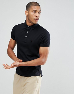 Tommy Hilfiger Slim Fit Polo In Black