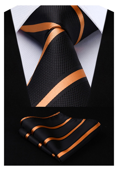 (HISTEN) HISDERN Men s check pattern stripe diagonal pattern tie set  settable business job hunting w