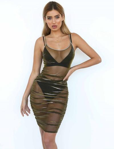 Size S-XL Euro Transparent Party Dress J121