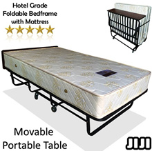 Movable Foldable Mattress Frame With Mattress * Hotel Grade *  Single Size * Portable Bed