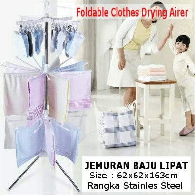 Foldable Clothes Drying Airer / Jemuran Baju Lipat / Di gunakan indoor/outdoor Deals for only Rp270.000 instead of Rp270.000