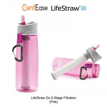 Lifestraw Go Water Filter Bottle with 2 Stage Filtration - Pink