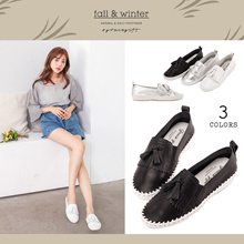 Gracegift-Classic Leather Tassel Tie Stitch Slip-On/Women/Ladies/Girls Shoes/Taiwan Fashion