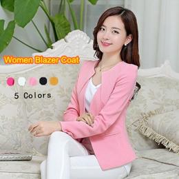 Gizmosy Spring Women Slim Blazer Coat Casual Jacket Long Sleeve One Button Suit Lady Suit Coat