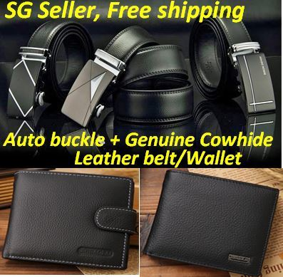 [Free shipping] Over 6000 Reviews! Mens Automatic Buckle Belt/wallet/Business Genuine Cowhide Leather Belt / BEST SELLER Deals for only S$10.9 instead of S$10.9