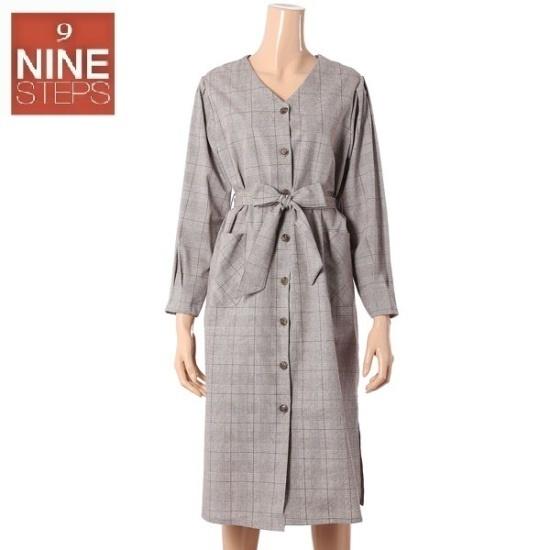 ナインステップトゥグルレンチェックベルトロングOPSN17NO7325R 面ワンピース/ 韓国ファッション