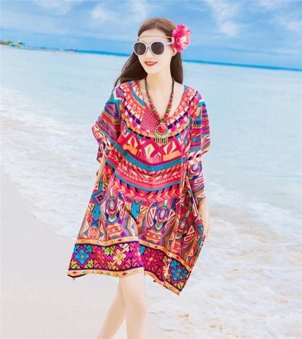 レディースワンピース ビーチワンピース砂浜 シフォン ボヘミア風 ファッション ハイセンス 着心地いい おしゃれ 夏 レディースワンピース