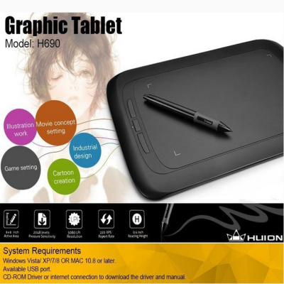 NEW Mini Portable Huion H690 Graphic Drawing Tablet 9x6 Professional  Digital Pen Tablet Handwriting