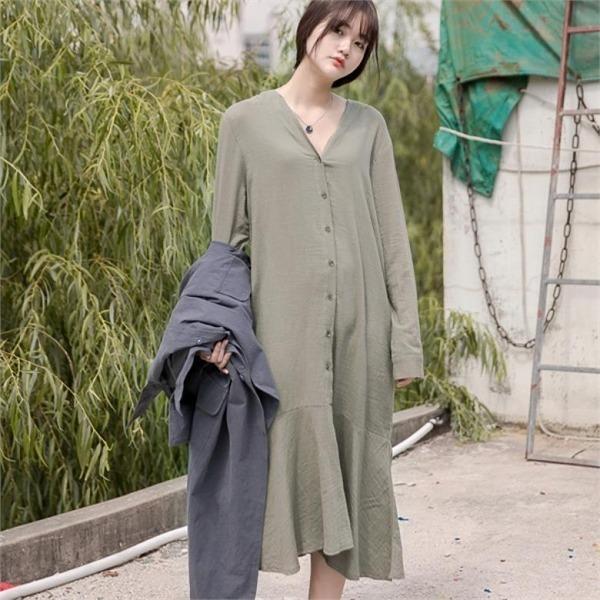 イニクマールロングOPSワンピース フレアワンピース/ワンピース/韓国ファッション