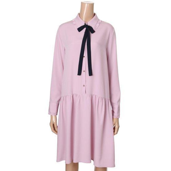 エッコノタイ装飾ピンタック・ワンピースATDR7B105 面ワンピース/ 韓国ファッション