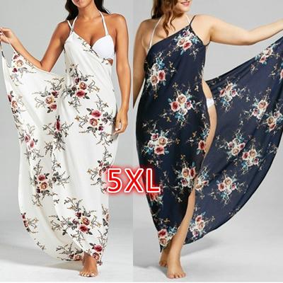 34043e891f Qoo10 - Tiny Floral Plus Size Beach Cover-up Wrap Dress 5XL   Men s ...