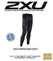 2XU LOCK Compression Tights Mens Black/Nero. FREE SHIPPING!!!