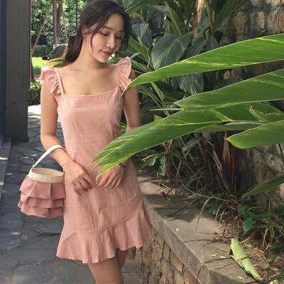 夏/新しいデザイン/韓国風/キャンディカラー/フリル/首輪/ワンピース /タンクドレス/女