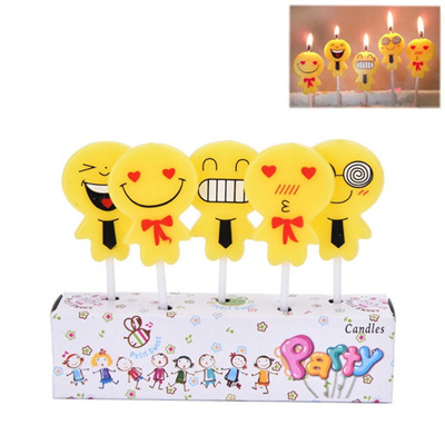 5 X Emoji Candles Cake Topper Frosting Birthday Party Decor New