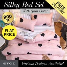 FLAT PRICE [ETOZ] NEW DESIGNS!! 950 TC Silky Bed Set (With Quilt Cover) ★Different Design Available★