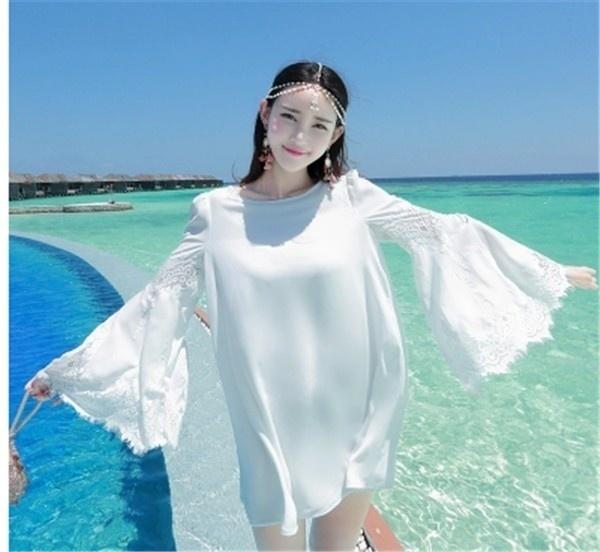 レディースワンピース ビーチワンピース 砂浜 ホワイト スリム ファッション ハイセンス 着心地いい おしゃれ 夏 レディースワンピース