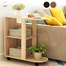 Wood Bedside Table Modern Sofa Side Table Living Room Storage Cabinet W/ Wheels E596