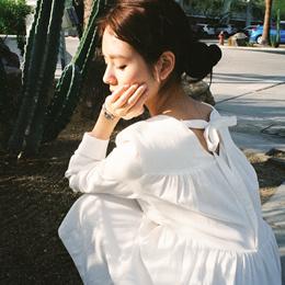 [CHERRYKOKO官方旗艦店]優雅純白後綁帶棉麻洋裝