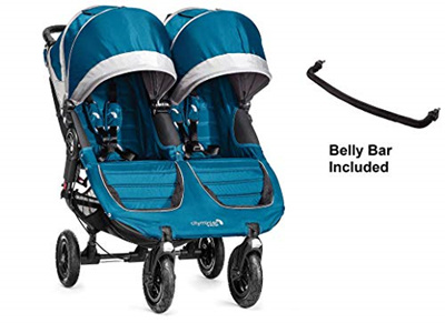Sb Baby Jogger City Mini Gt Double Stroller In Teal Grey With Bonus Double Belly Bar Usa