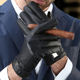 Daily special touch screen men s leather gloves winter driving ride cycling plush warm-padded waterp