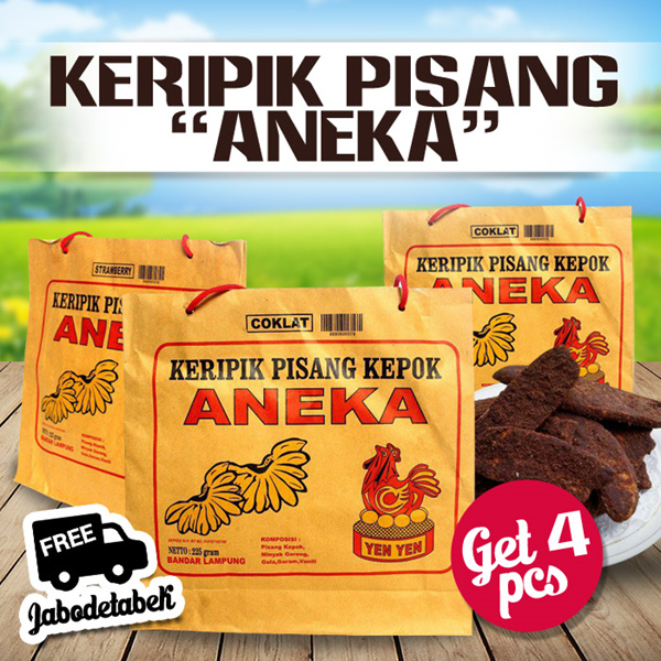 [ GET 4 PCS ] KERIPIK PISANG ANEKA KHAS LAMPUNG / FREE SHIPPING JABODETABEK Deals for only Rp72.000 instead of Rp72.000
