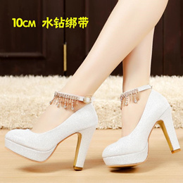 Wedding Shoes female Block Heel Waterproof table white Pump shoe Rounded Toe shallow mouth silver sh