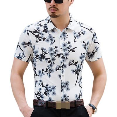 f3de5c9f5fbc Hawaiian Shirt Men Summer 2018 Fashion Floral Shirts Slim Fit Plus Size  Business Printed Dress Short