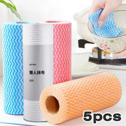 5 pcs Wipes| Washable Wet and Dry Lazy Wipes Kitchen Disposable Dish Towel Non-woven Fabric