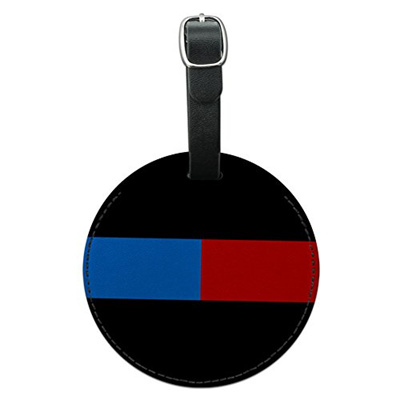 af3313f9bfb4 Graphics and More Thin Blue Red Line Firefighter Police Round Leather  Luggage ID Tag Suitcase