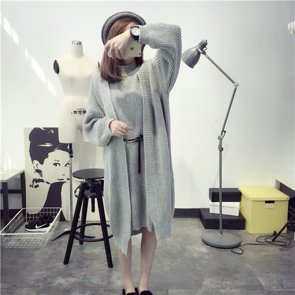 【送料無料】レディース トップス セットコーディネート ワンピース ベルト付き ゆったり コート 人気 シンプル ファッション