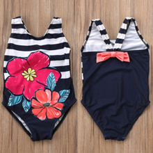 2018 New Flower Striped One-Piece Bikini Kids Baby Girls Tankini Bikini Swimwear Swimsuit Child Bath