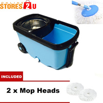 MASIA Stainless Steel Wheel Easy Magic Spin Mop 2 Drive Rotary Rotation Dryer Floor Cleaner Bucket