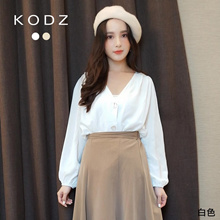 KODZ - Elegant V-Neck Crumpled Breasted Top-191240