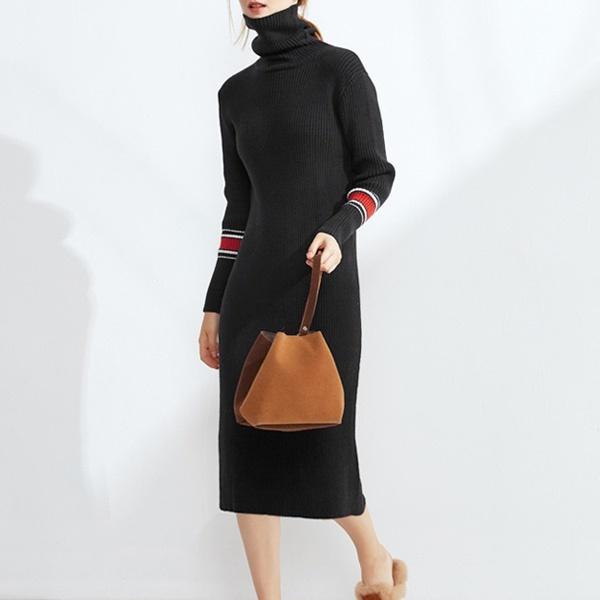【韓国ファッション】リブニットワンピース/ニットワンピース/配色ワンピース/タートルワンピース_233271