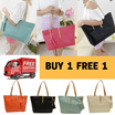 【BUY1 FREE 1 + FREE SHIPPING】Summer Style Korean Design Candy Color Shoulder Tote Handbag Bag With Pouch