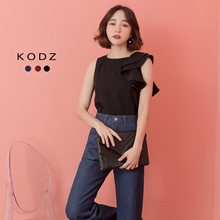 KODZ - One Shoulder Ruffle Crop Sleeveless Top-182612