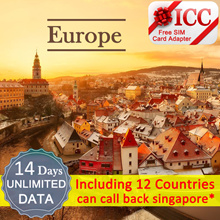 ◆ ICC◆【Europe Sim Card·14 Days】Unlimited Data  + ❤ Free SIM Card A dapter ❤ 12 Europe countires
