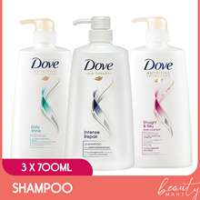 [3x700ml] Dove Nutritive Solutions Shampoo Daily Shine / Straight and Silky / Intense Repair