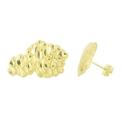 Master Of Bling Gold Nugget Earrings 14k Finish Sterling Silver Brand New Mens Womens 26 Mm