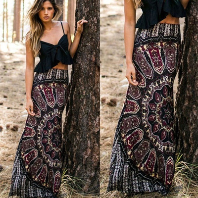 89adc74658 Women s Maxi Summer Long Casual Skirt Dress Gypsy Boho Tribal Floral Beach  Skirt