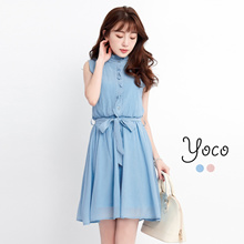 YOCO - High Collar Sleeveless Dress-170873