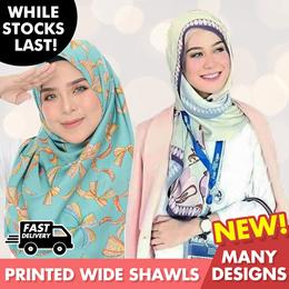 *New* Printed Wideshawls | Pastel Bubble Chiffon | Dull Satin | Muslimah | Hijab | Shawl