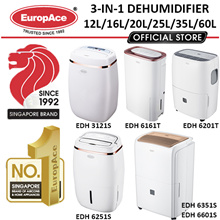 EuropAce 3-in-1 Dehumidifier w Air Purifier 12L-60L EDH 3121S/ 6181S/ 6251S/ 6351S/ 6601S/358B