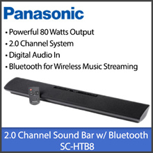 Panasonic SC-HTB8 Sound Bar with Bluetooth and Remote Control